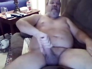 Horny daddy bear masturbating and cumming