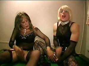2 TV sluts bareback fuck and suck in the poolroom part 2